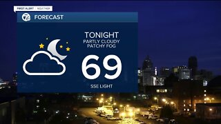Warm, humid with storms possible