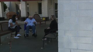 Families reunited during outdoor visits at senior care facilities