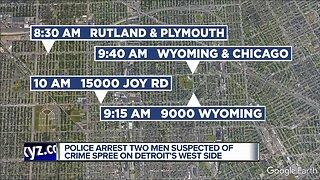 Two men arrested in Detroit crime spree