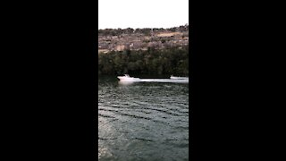 Water skiing with excellent background