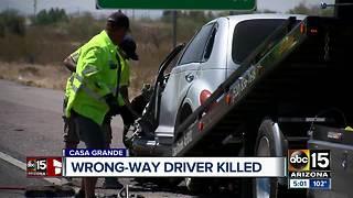 Wrong-way driver killed in crash on Interstate 10 near Casa Grande