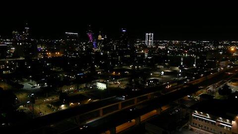 Night drone footage of San Antonio skyline
