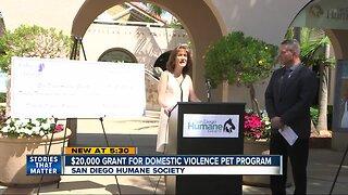 $20,000 Grant for Domestic Violence Pet Program
