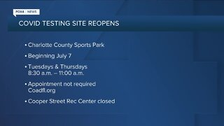 Testing site information for Charlotte County and Cape Coral