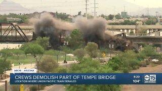 Crews demolish part of Tempe bridge