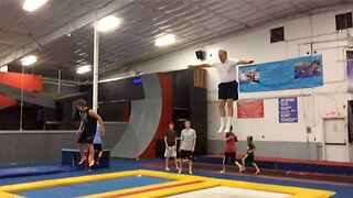 Acrobatic Pensioner Rolls Back The Years By Celebrating 66th Birthday Doing Somersaults At Trampoline Park