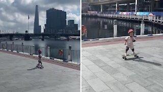 Amazing toddler has impeccable skateboarding skills