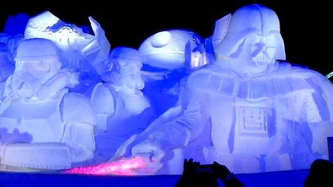 Travel JAPAN! Amazing STAR WARS Snow Sculpture Lighting Show!