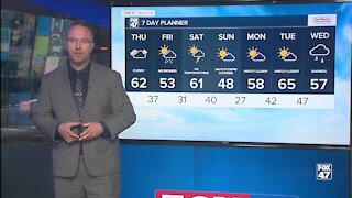 Mainly dry with rain Thursday night