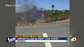 Driver killed in fiery car crash