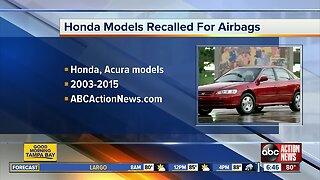 Honda recalls 1.6 million vehicles over Takata airbags