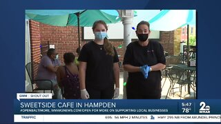 """Sweetside Cafe in Hampden says """"We're Open Baltimore!"""""""
