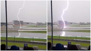 Lightning strikes a race track