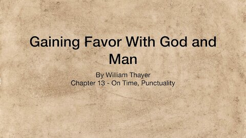 Chapter 13 - On time, Punctuality