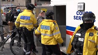 Banned by YouTube! Toronto police continue to assault media, ticket and arrest peaceful protestors Toronto, 02/27/21