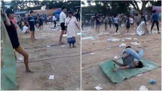 Thaiungdommer steller i stand en uvanlig gatefest