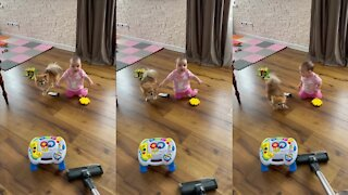Baby joins doggy to bark at the vacuum cleaner