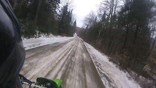 Dirt bike fun on snowy & icy roads