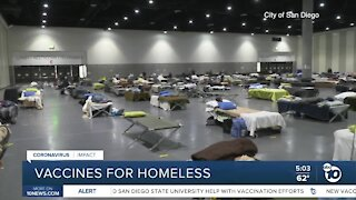 Homeless individuals get vaccines at San Diego Convention Center