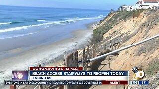 Encinitas beach access stairways to reopen Saturday
