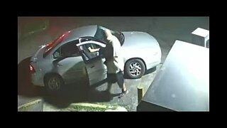 Man steals tire air compressor machine from gas station