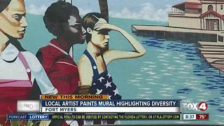Local artist paints mural highlighting diversity