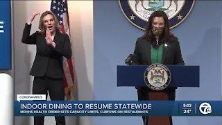 Gov. Whitmer confirms Michigan restaurants can open starting Feb. 1