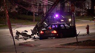 Police, EMS respond to crash involving car vs. pole
