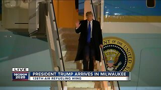 President Trump arrives in Milwaukee