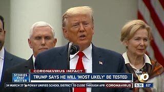 Trump says he will most likely be tested