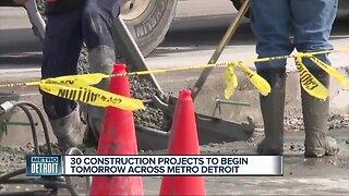 30 construction projects beginning Monday across metro Detroit