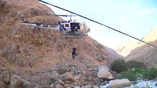 KCSO helicopter rescues man trapped on rock in Kern River Canyon