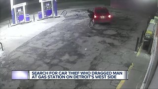 Search for car thief who dragged man at gas station on Detroit's west side