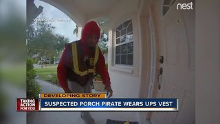 Porch pirate wearing UPS vest caught on camera stealing packages in Manatee County