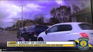 Caught on camera: State police arrest stolen car driver