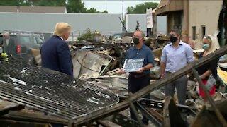 President Trump surveys damage to businesses during visit to Kenosha