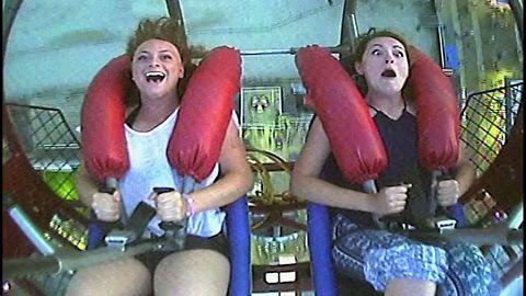 Girl Freaks Out On Slingshot Ride