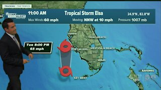 Severe weather possible locally as Tropical Storm Elsa moves up Florida's west coast