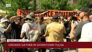 Crowds gather in downtown Tulsa