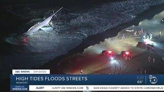High tide floods Newport Beach streets, coastline