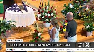Public visitation for Cpl. Daegan Page