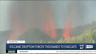 Thousands evacuate after volcanic eruption on island of La Palma