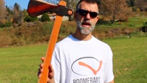 Boomerang axe that really returns when thrown