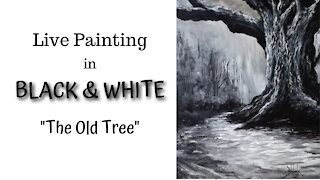 Using only Black and White to Paint a Landscape.