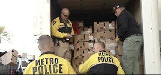 Las Vegas police helping to feed local families at The Harbor