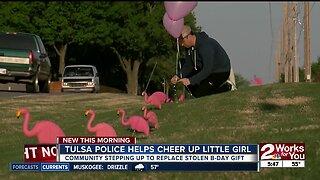 Tulsa police helps cheer up little girl