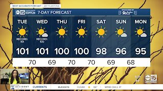 Record heat possible on Tuesday