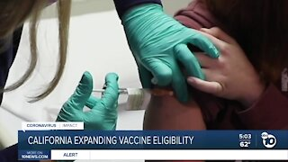 California expands vaccine eligibility