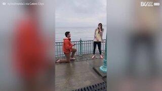 Un petit garçon curieux interrompt une demande en mariage