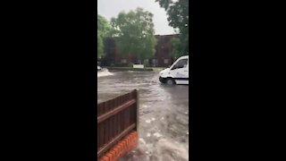 Stratford Road in the UK resembles a river after extreme flooding